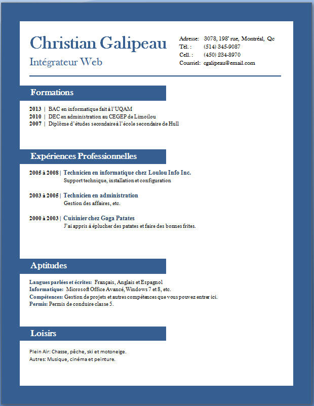 ... Francais, Writer Resume Sample, Modele CurriculumVitae Francais Images