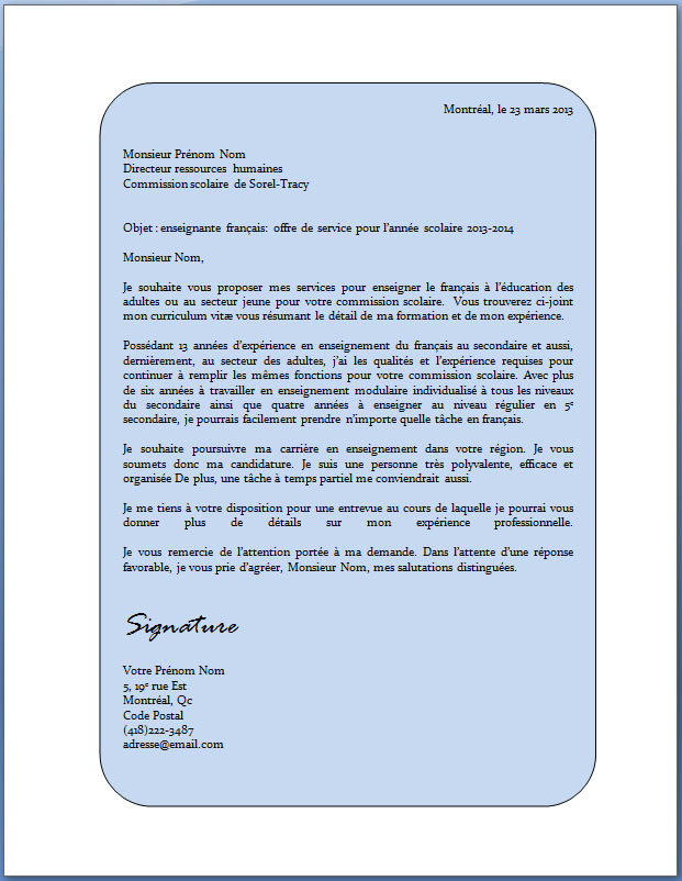 application letter sample  modele de lettre de motivation receptionniste