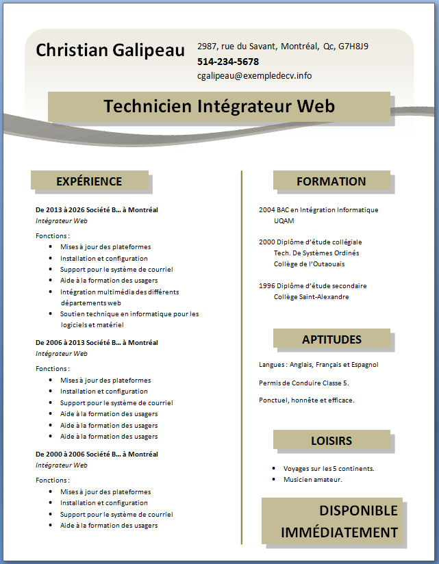 exemple cv word gratuit telecharger
