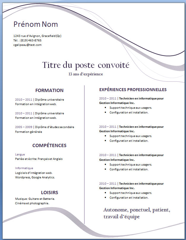 exemple cv simple et efficace