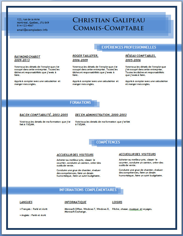 example resume  modele cv anglais telecharger gratuitement