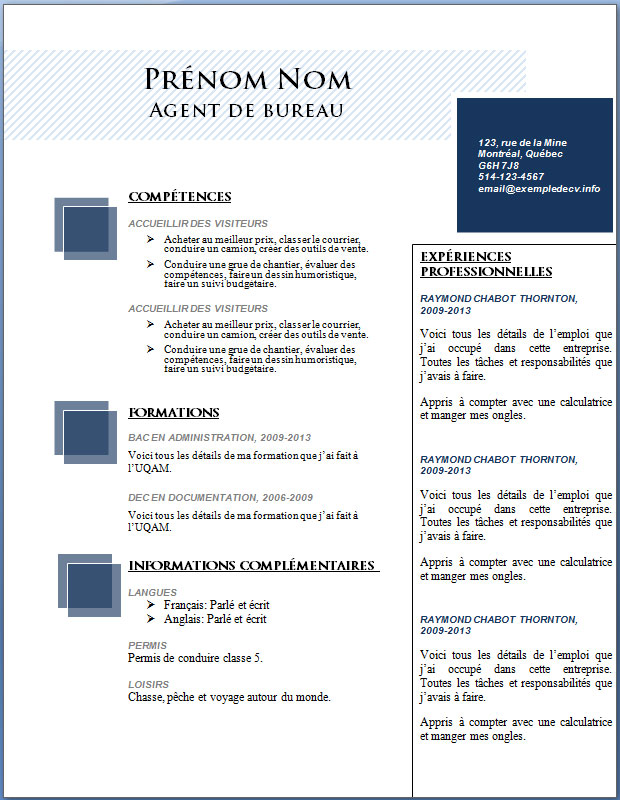 resume format  telecharger cv enseignant