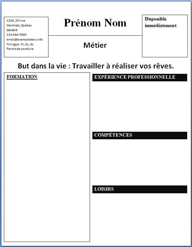 modele cv simple gratuit telecharger
