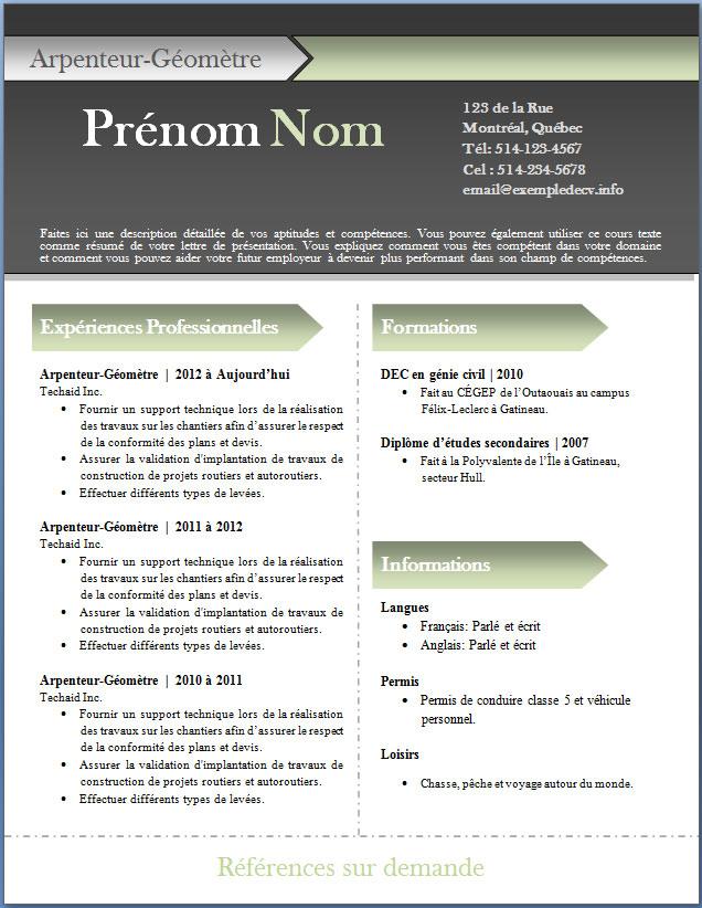 resume format  exemple de cv moderne gratuit a telecharger