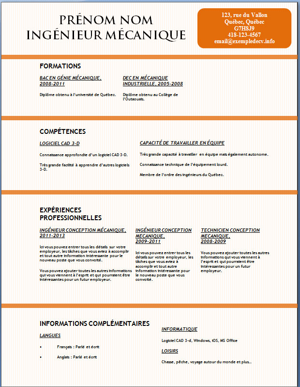 exemples de cv  128  u00e0 134  u2013 exemple de cv  info