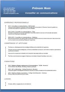 Exemple et modèle de CV gratuit #189