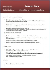 Exemple et modèle de CV gratuit #190