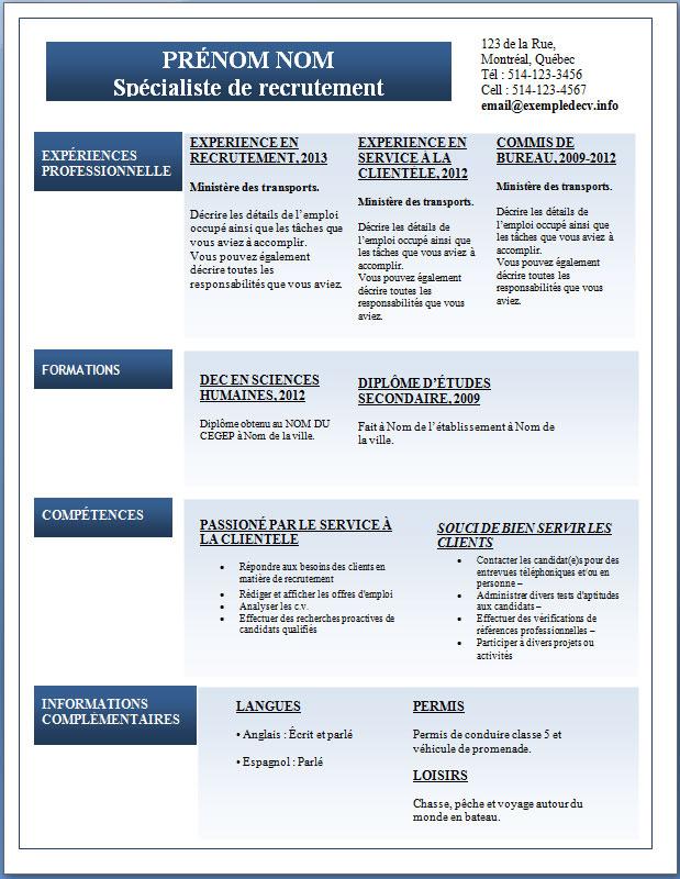 mod u00e8le cv gratuit  u2013 page 2  u2013 exemple de cv  info