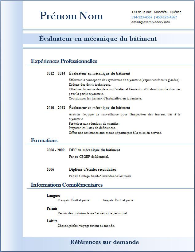 mod u00e8les et exemples de cv  310  u00e0 315  u2013 exemple de cv  info