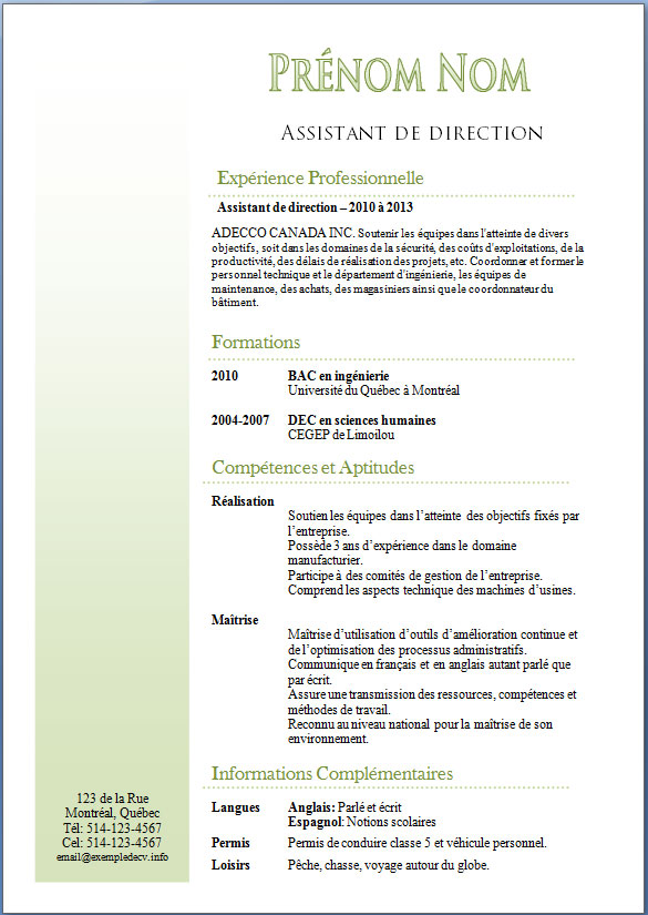 exemple de cv  u2013 page 4  u2013 exemple de cv  info