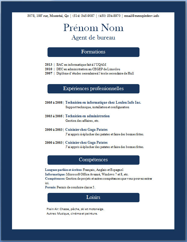 mod u00e8le de cv  u2013 page 5  u2013 exemple de cv  info