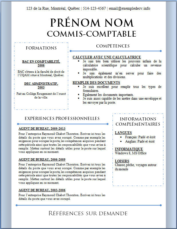 mod u00e8les et exemples de cv  402  u00e0 408  u2013 exemple de cv  info