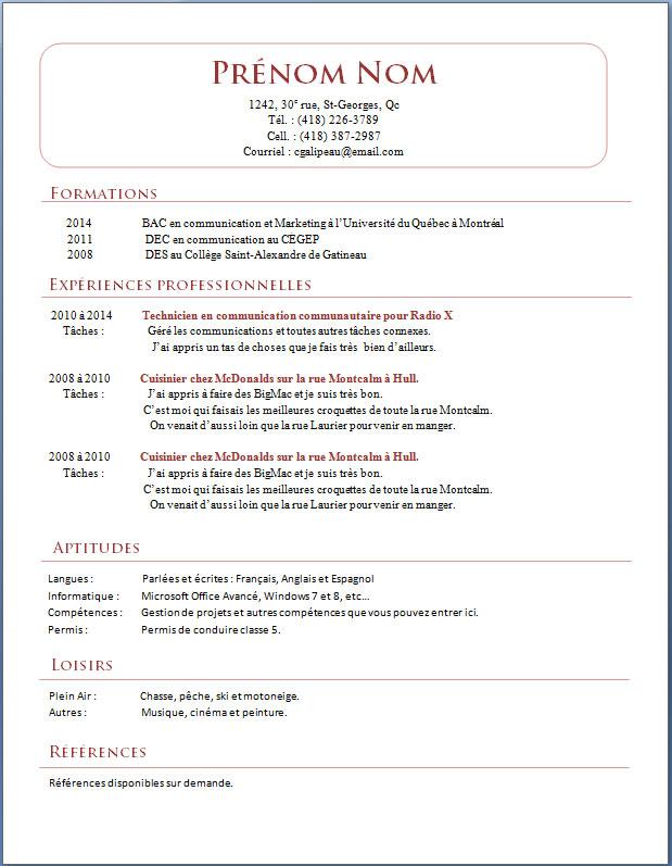 modele cv recherche d emploi