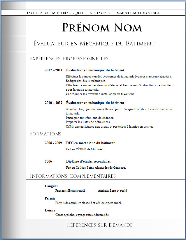 resume format  mod u00e8les de cv sans exp u00e9rience professionnelle