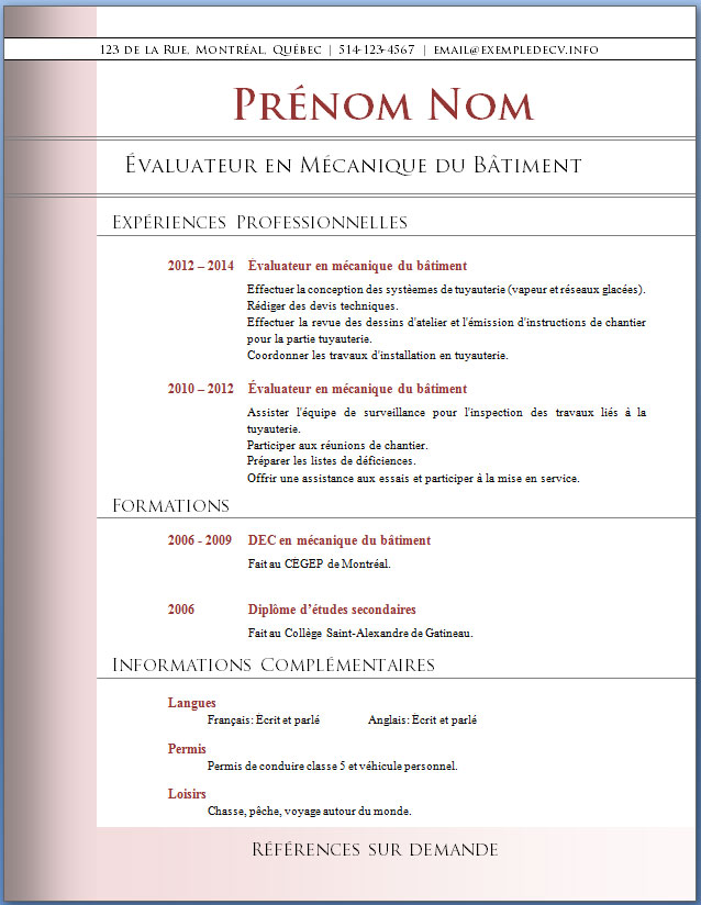 exemple cv professionnel