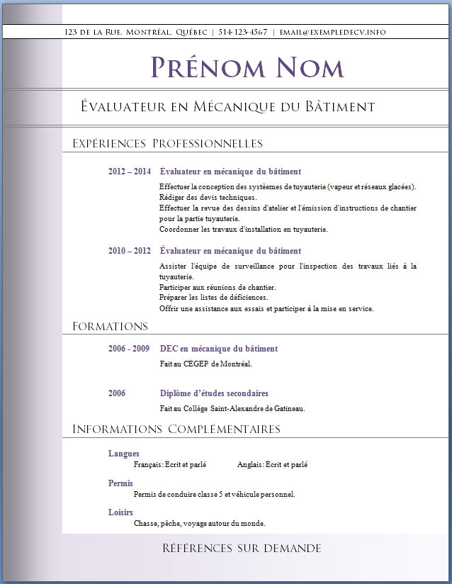 resume format  modele de cv gratuit cadre