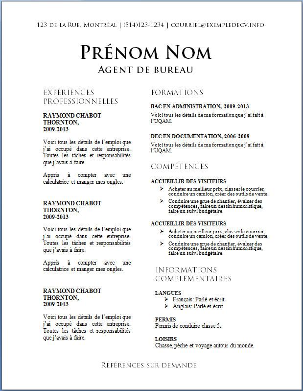 resume format  modele de cv gratuit classique