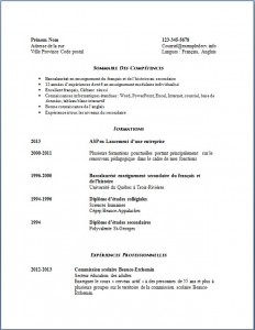 Exemple de CV #606 Enseignante au secondaire page 1
