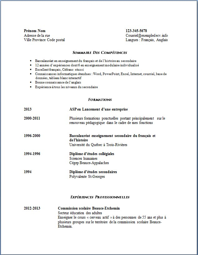 exemple de cv  606 enseignante au secondaire  u2013 exemple de
