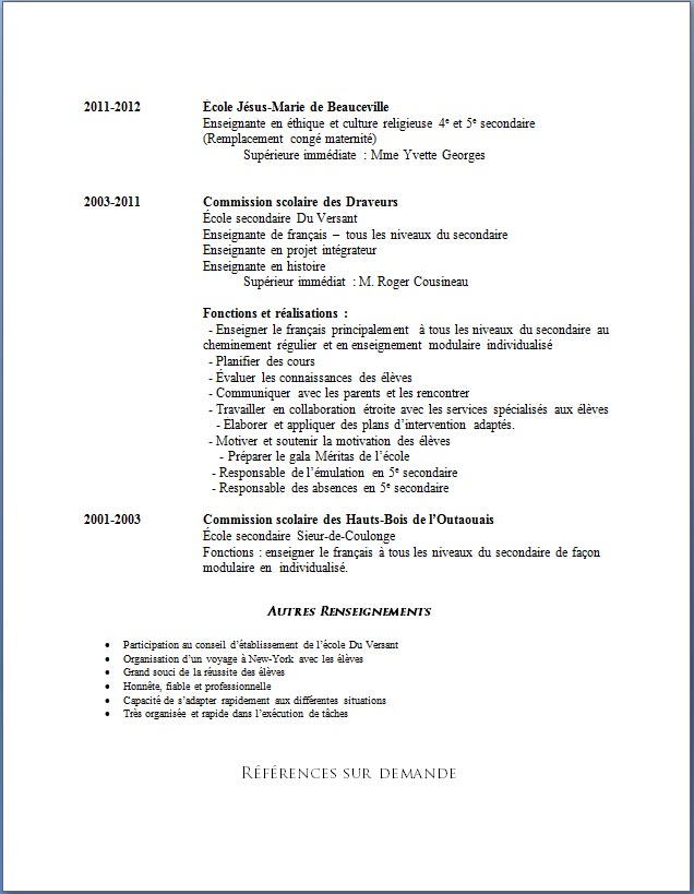 exemple cv etudiant secondaire