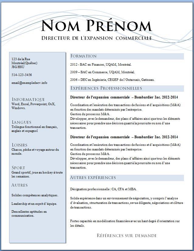 mod u00e8les et exemples de cv  621  u00e0 627  u2013 exemple de cv  info