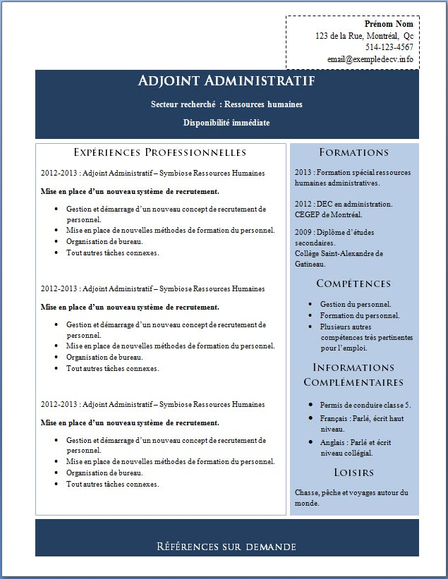 Souvent adjointe administrative – Exemple de CV .info TK47
