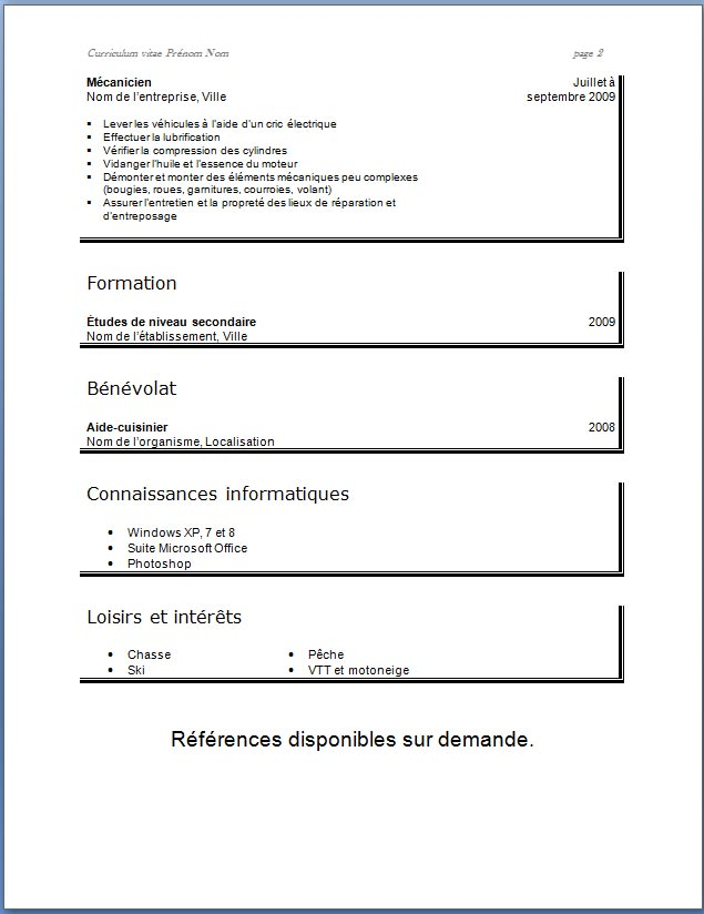 exemple cv simple etudiant