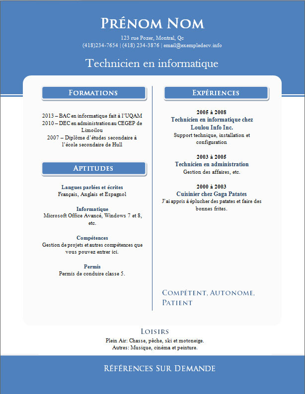 Resume format modele de curriculum vitae a telecharger - Telecharger open office gratuit en francais ...