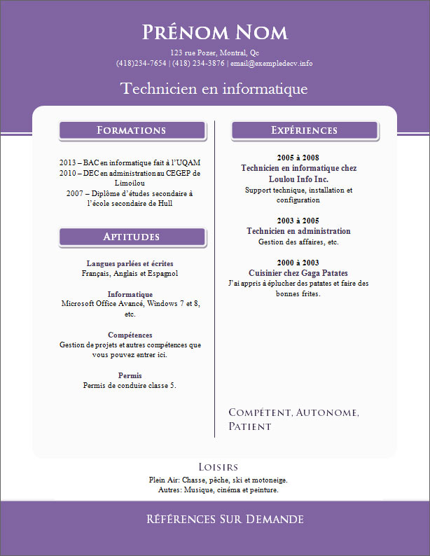Mod les et exemples de cv 810 816 exemple de cv info - Open office writer telecharger gratuit ...