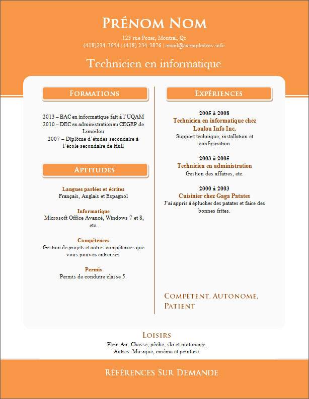 Exemple cv original open office cv anonyme - Traitement de texte open office gratuit ...