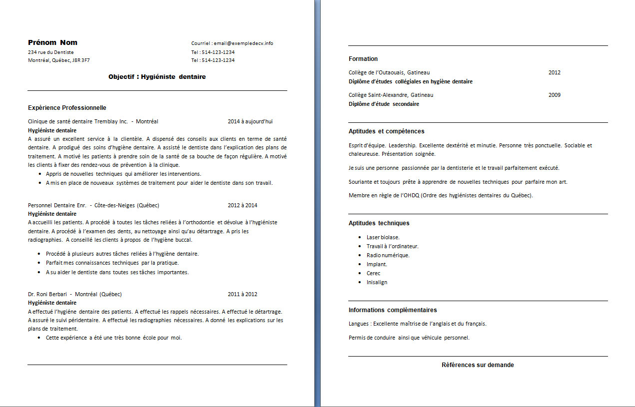 cv dentiste exemple