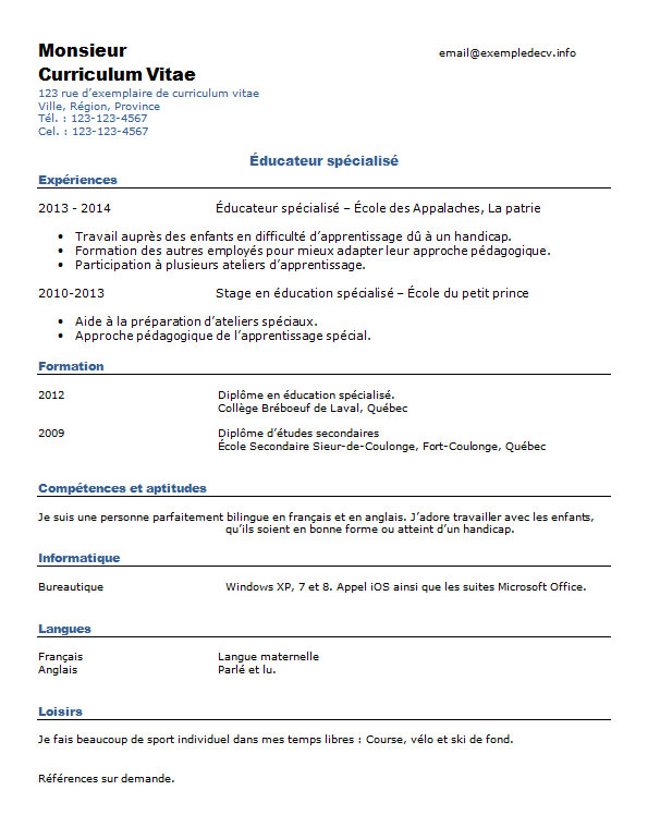 Exemple de CV educateur technique specialise