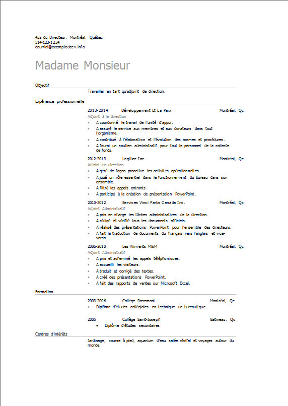 exemple de cv adjoint  adjointe de direction  u2013 exemple de