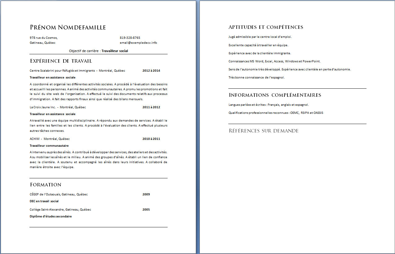 example resume  exemple cv suivi et evaluation