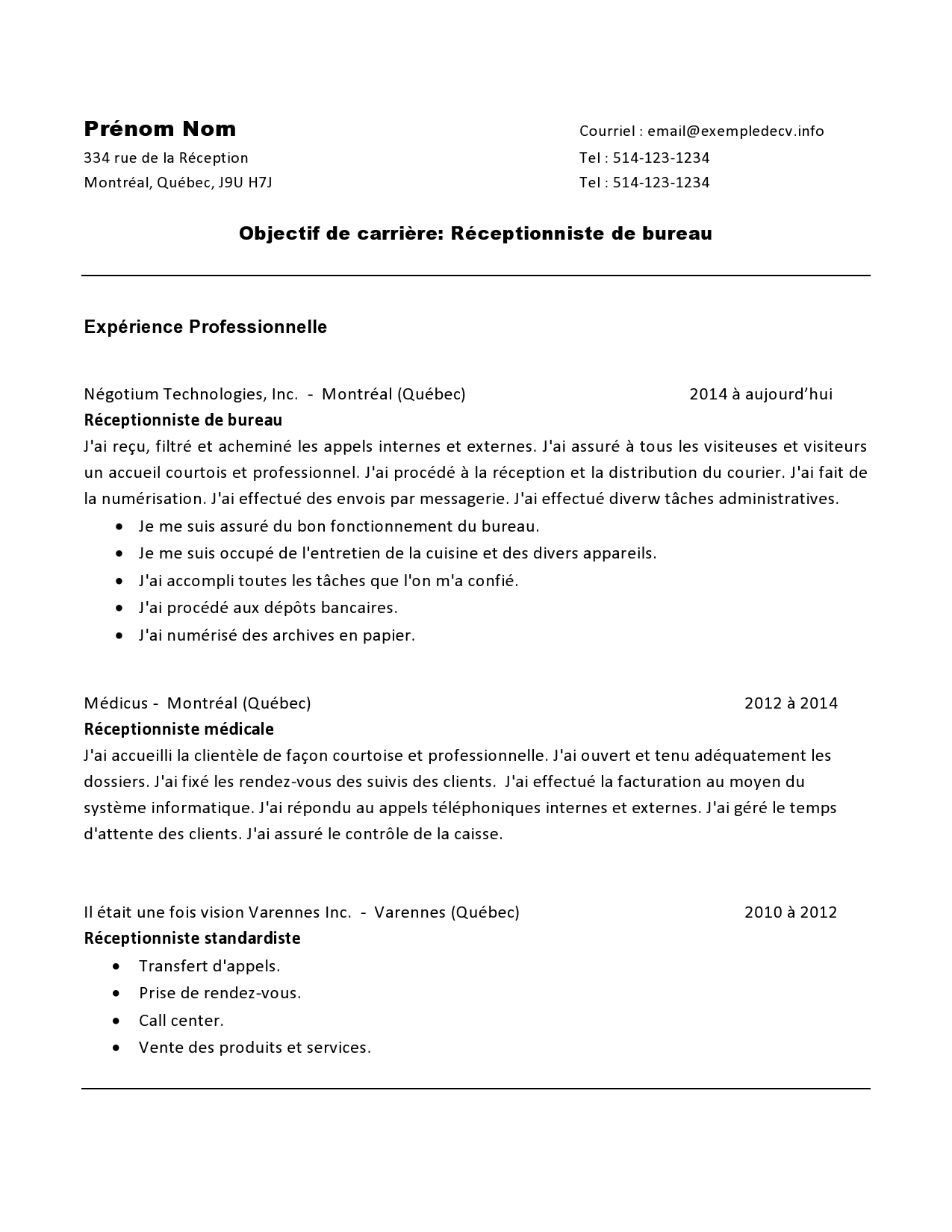 exemple cv receptionniste