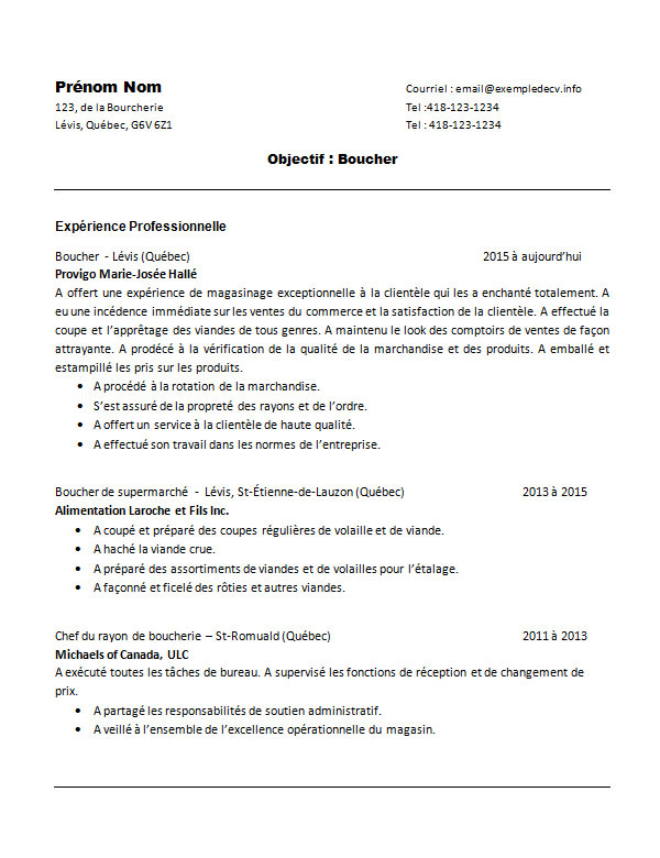 exemple cv boucher