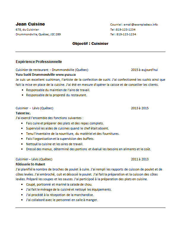 Exemple de cv d une cuisini re ou d un cuisinier exemple for Responsable de cuisine collective