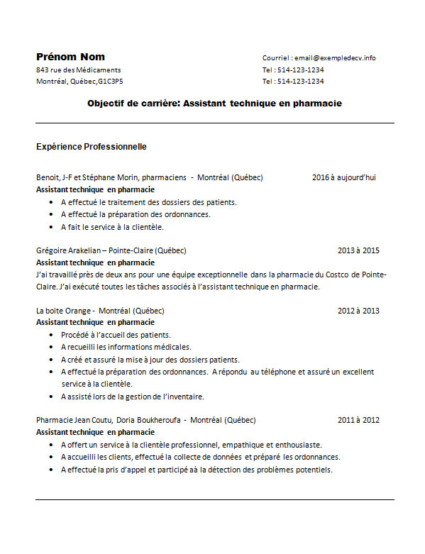 exemple de cv pharmacienne