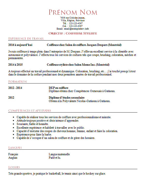 exemple de cv de coiffeur ou coiffeuse  u2013 exemple de cv  info