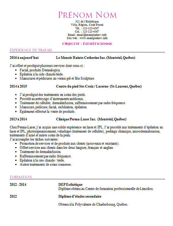search results for  u201cexemple de cv pour estheticienne