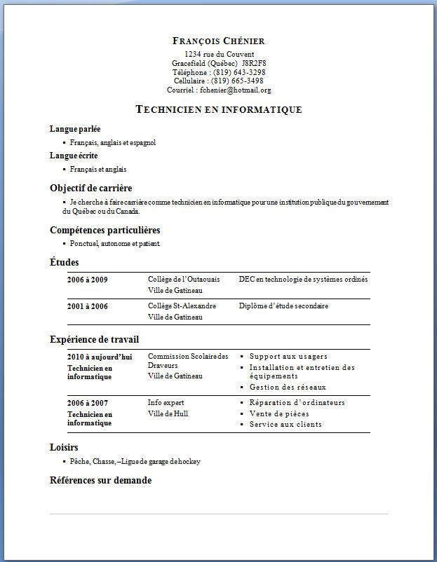 curriculum  u2013 exemple de cv  info
