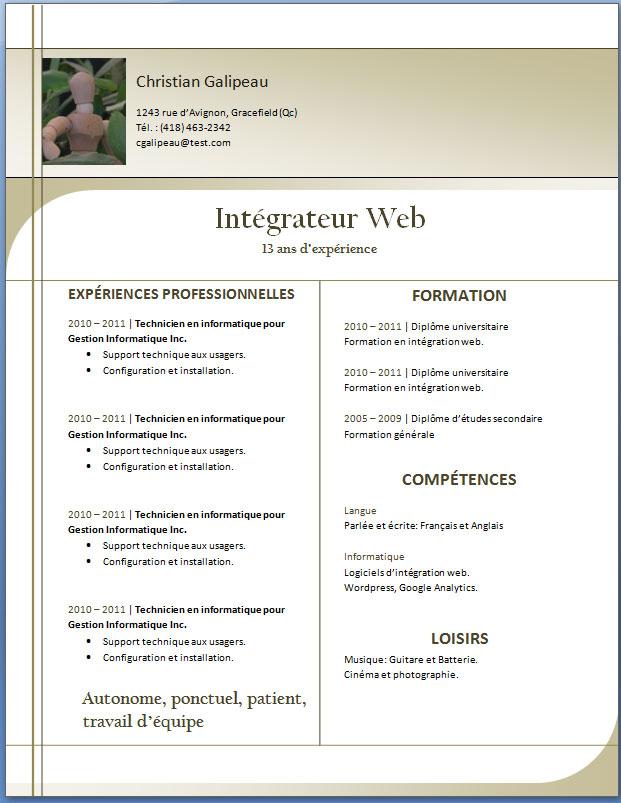 trois exemples et mod u00e8les de cv modernes  u2013 exemple de cv  info