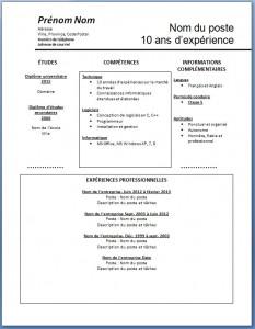 Exemple de CV #3 modèle word gratuit
