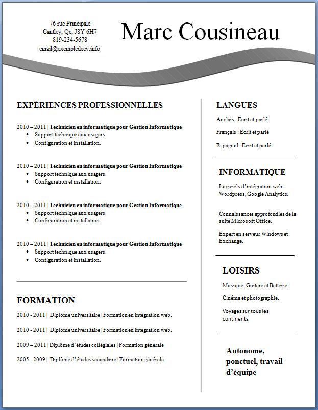 exemple de cv  30  u2013 exemple de cv  info