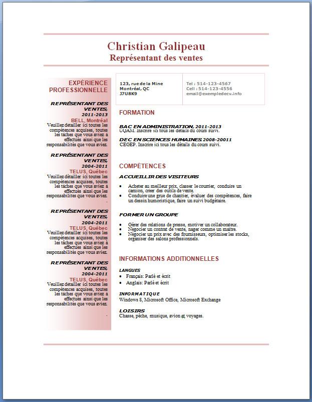 Modèles Et Exemples De Cv 73 à 80 Exemple De Cv Info