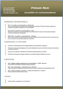 Exemple et modèle de CV gratuit #188