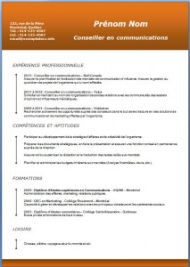 Exemple et modèle de CV gratuit #193