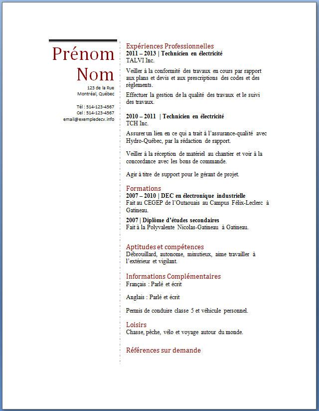 exemple cv word  u2013 exemple de cv  info