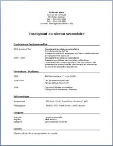 Exemple de CV #185 Enseignant au niveau secondaire