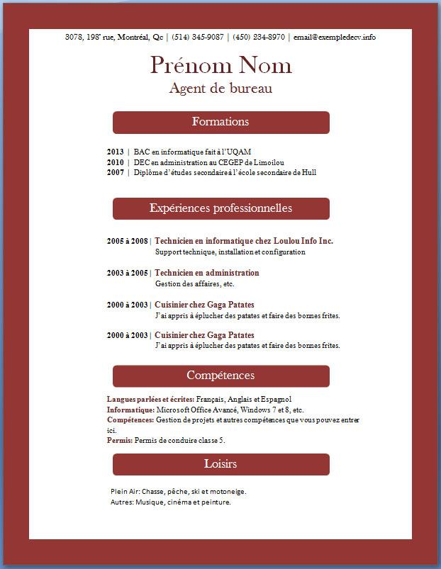 Modèles et exemples de CV #366 à 373 - Exemple de CV .info